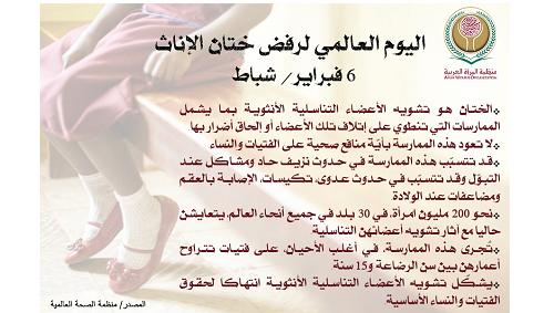 منظمة المرأة العربية تؤكد على ضرورة تطوير الذهنيات والسلوكيات الاجتماعية لمحاربة ظاهرة ختان الإناث